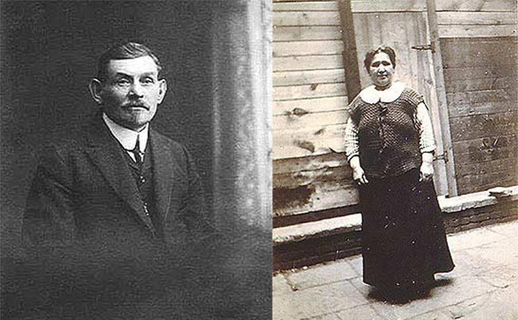 A portrait of Abraham Rogarshevsky alongside a photo of Fannie Rogarshevsky