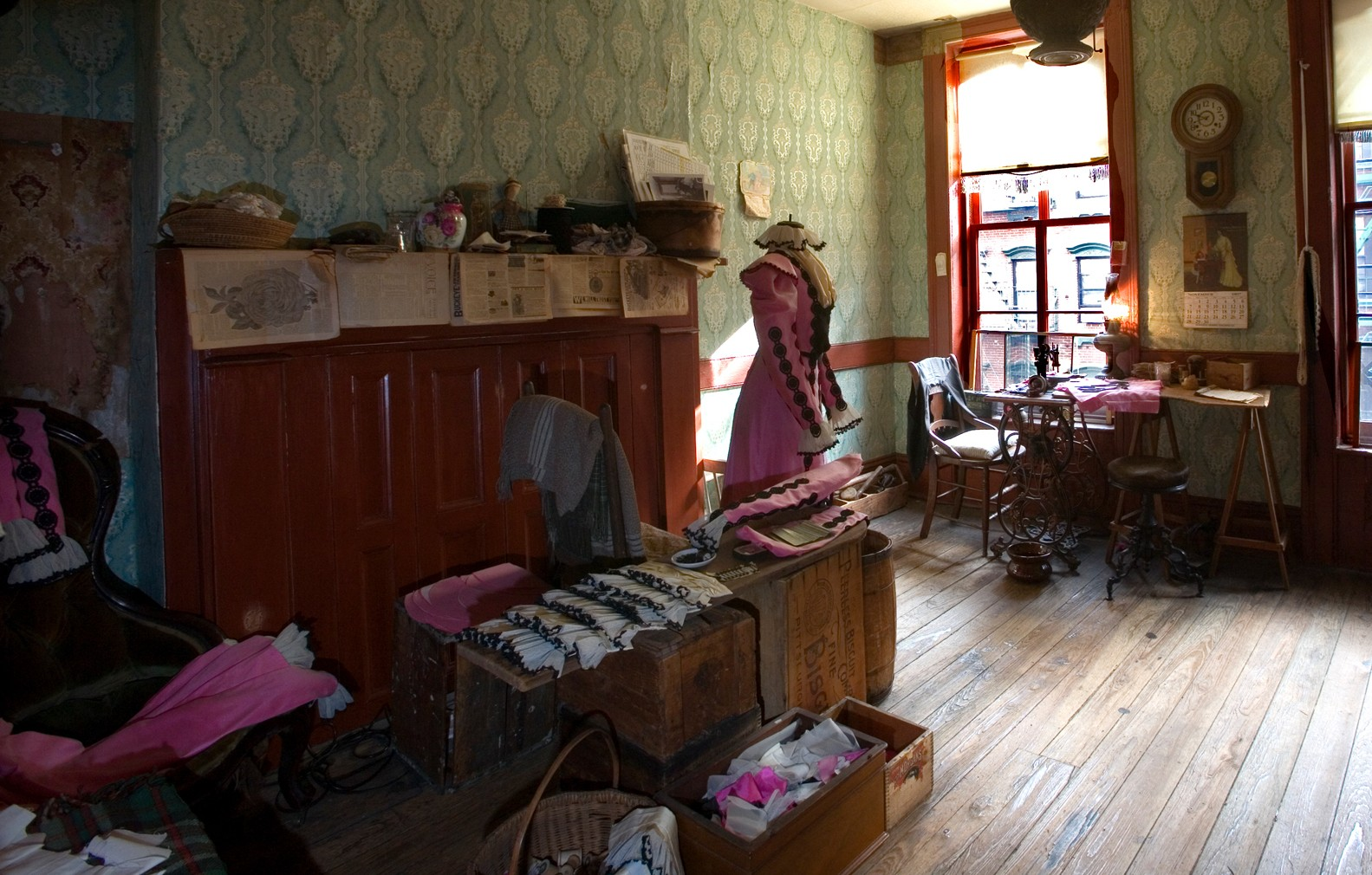 The Levine parlor showing the materials and tools of their garment shop