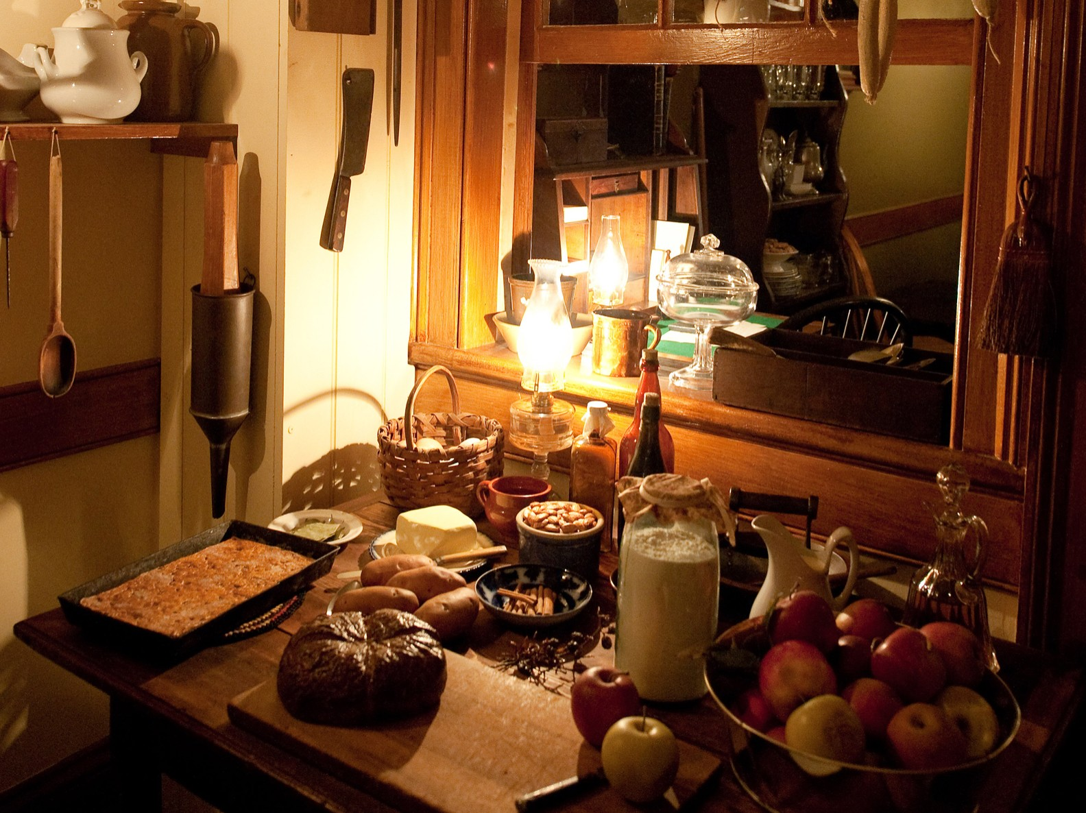 The recreated table of food inside the Schneider saloon in the 1870s
