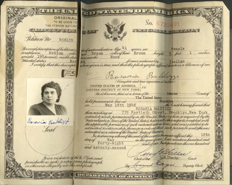 Rosaria Baldizzi's naturalization document