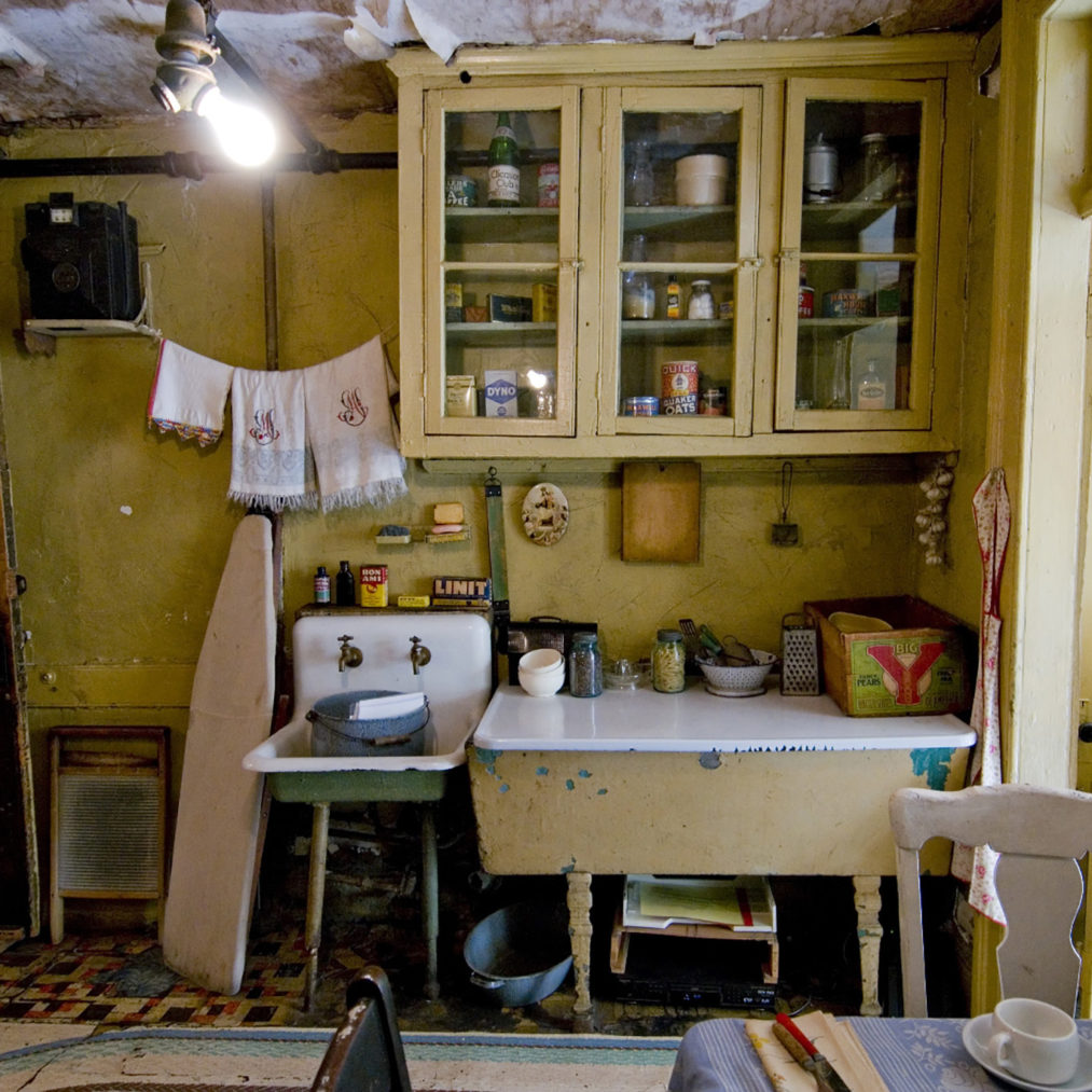 The recreated kitchen of the Baldizzi family
