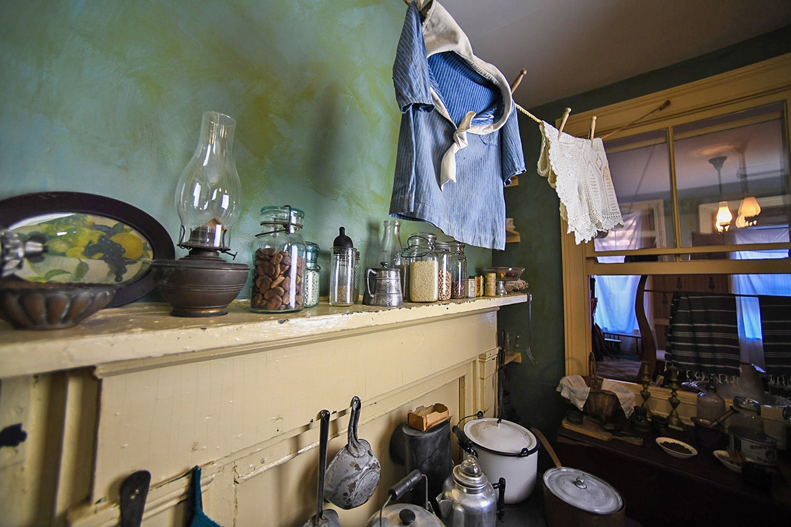 The mantle and clothesline inside the Confino family kitchen