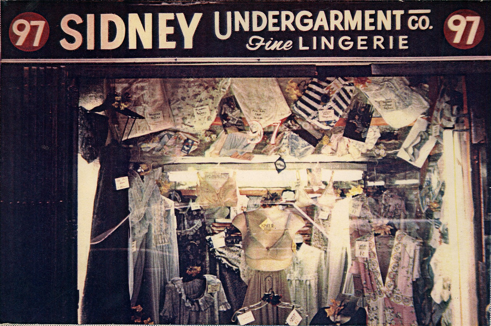 An exterior photo of the Sidney Undergarment Company storefront at 97 Orchard