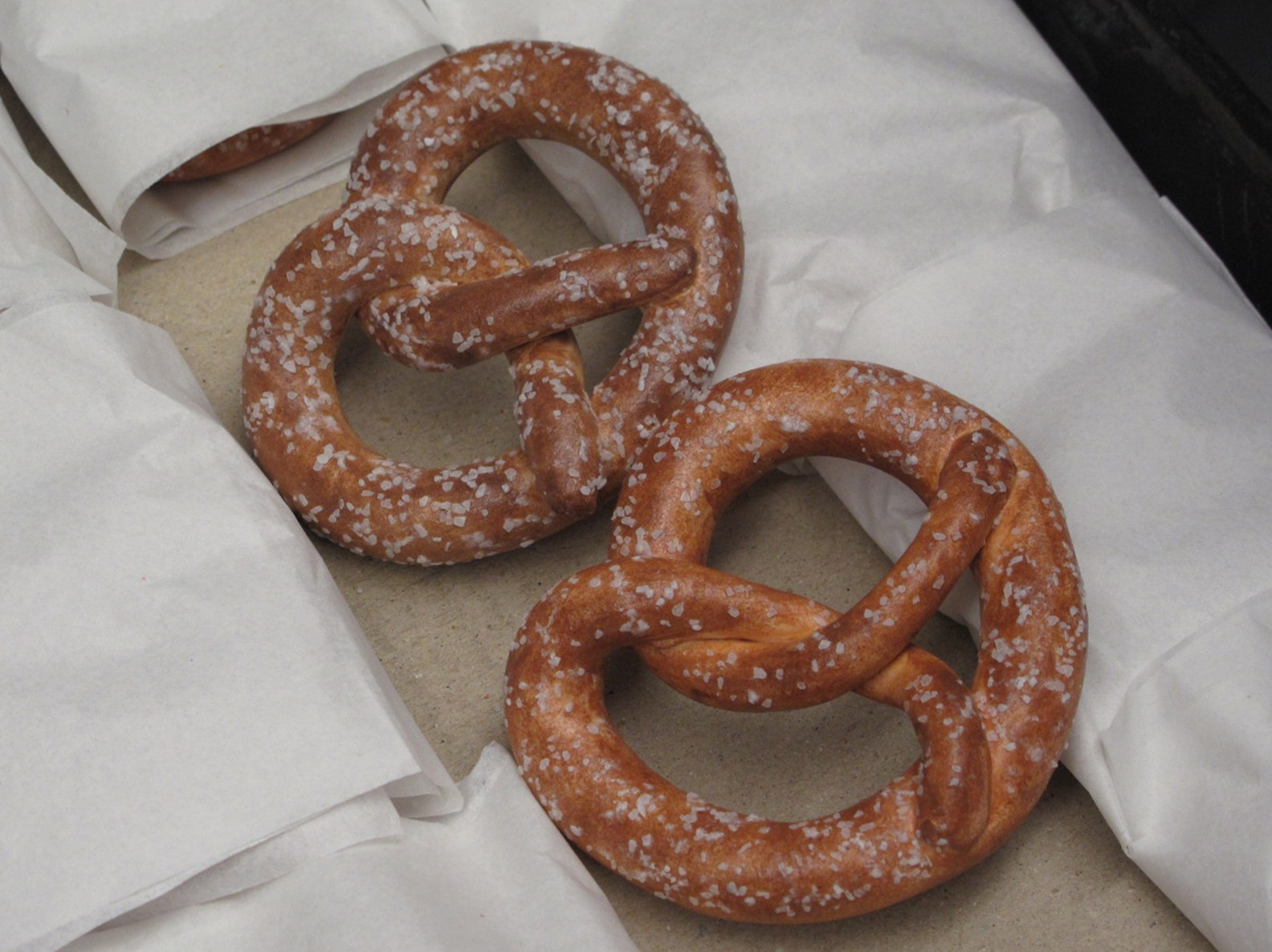 Two German style pretzels