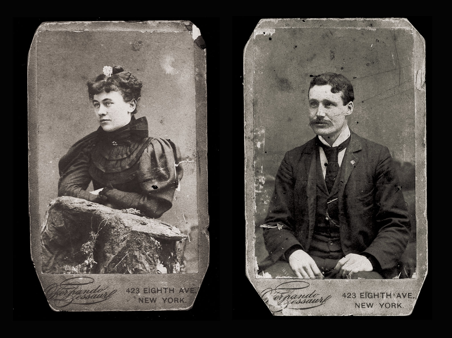 Photo portraits of Jane and Roger Hanrahan circa 1895
