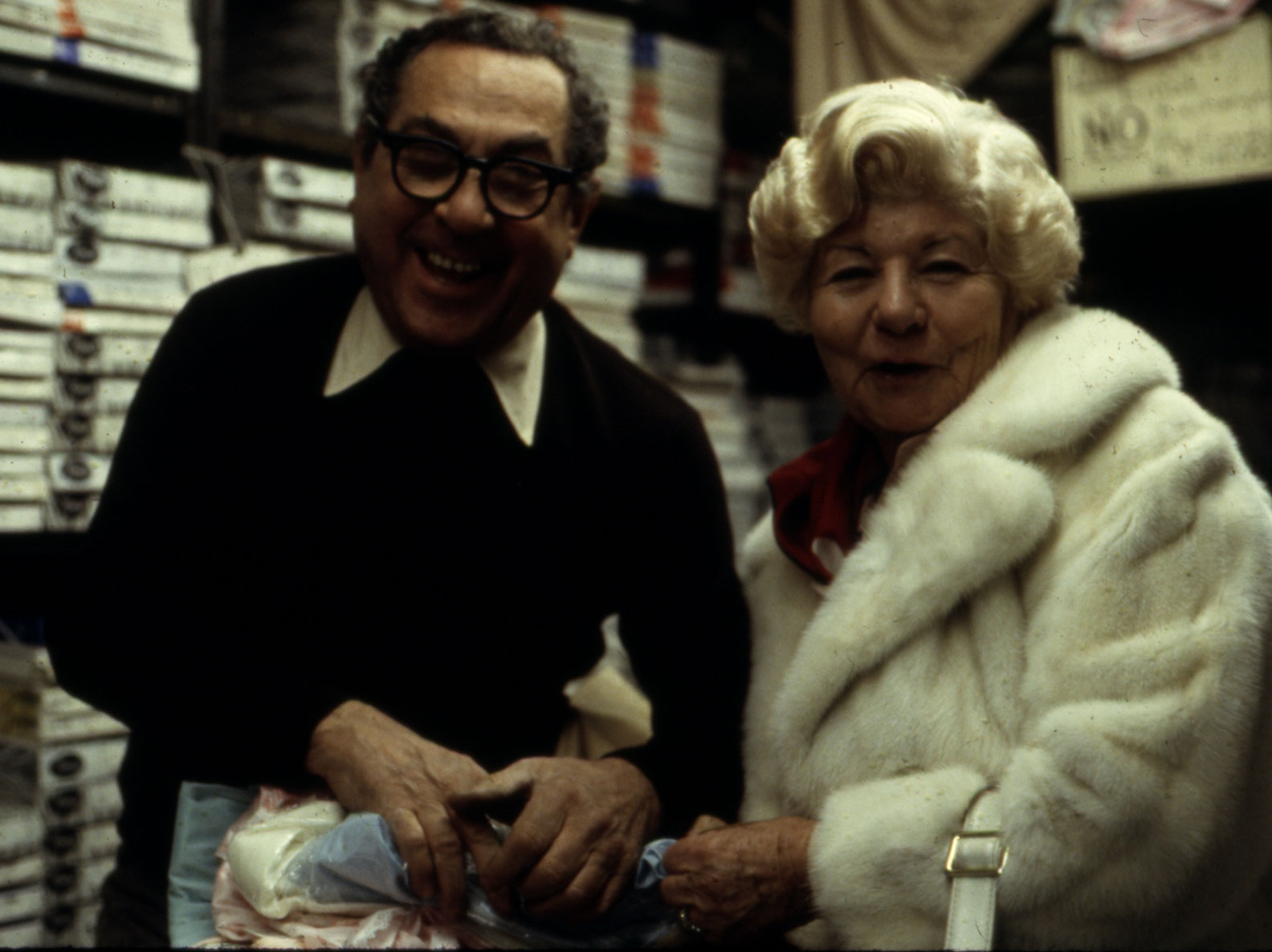 Photo portrait of the Mr. and Mrs. Meda in their underwear shop in 97 Orchard Street