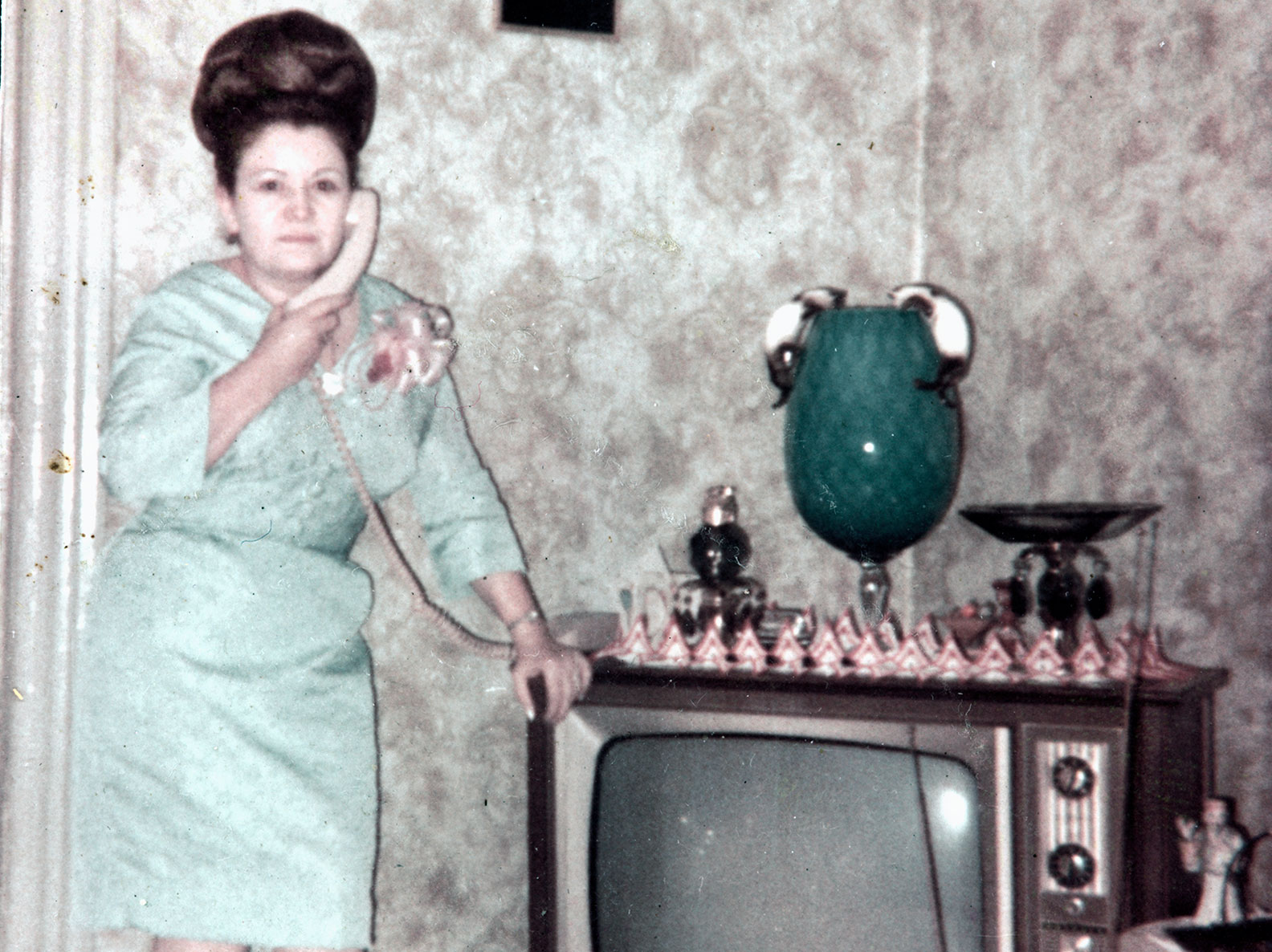 Photo portrait of Ramonita Saez standing next to her television in her 103 Orchard Street living room