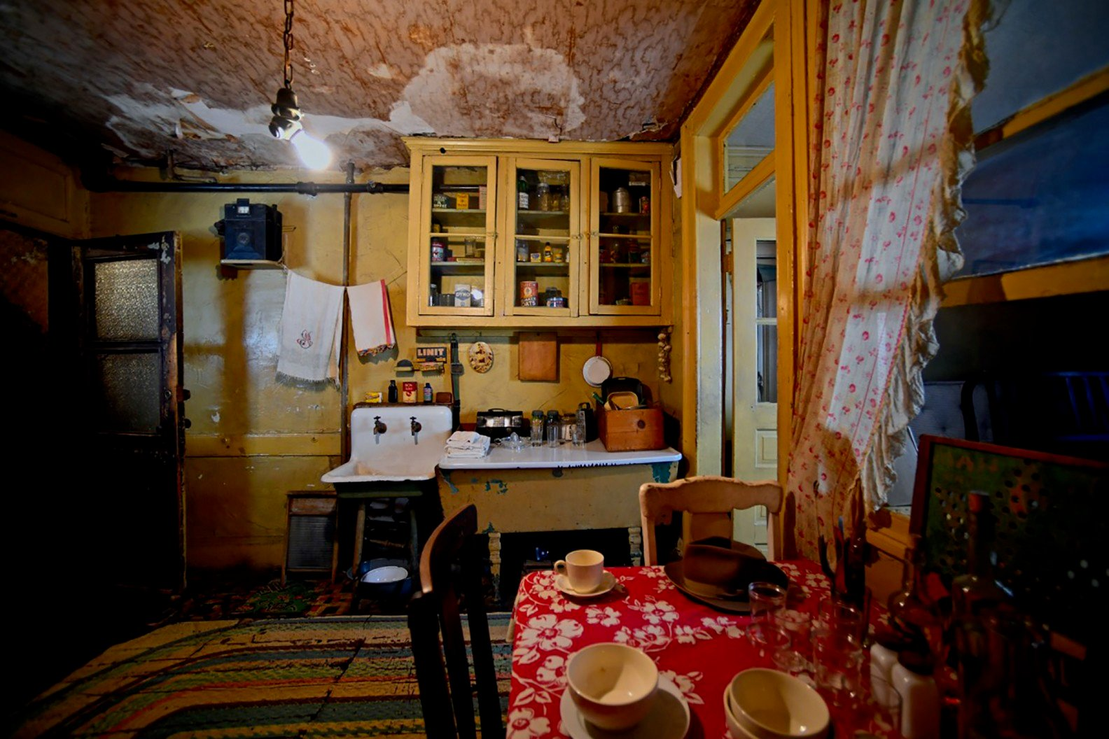 Kitchen in the recreated apartment of the Baldizzi family
