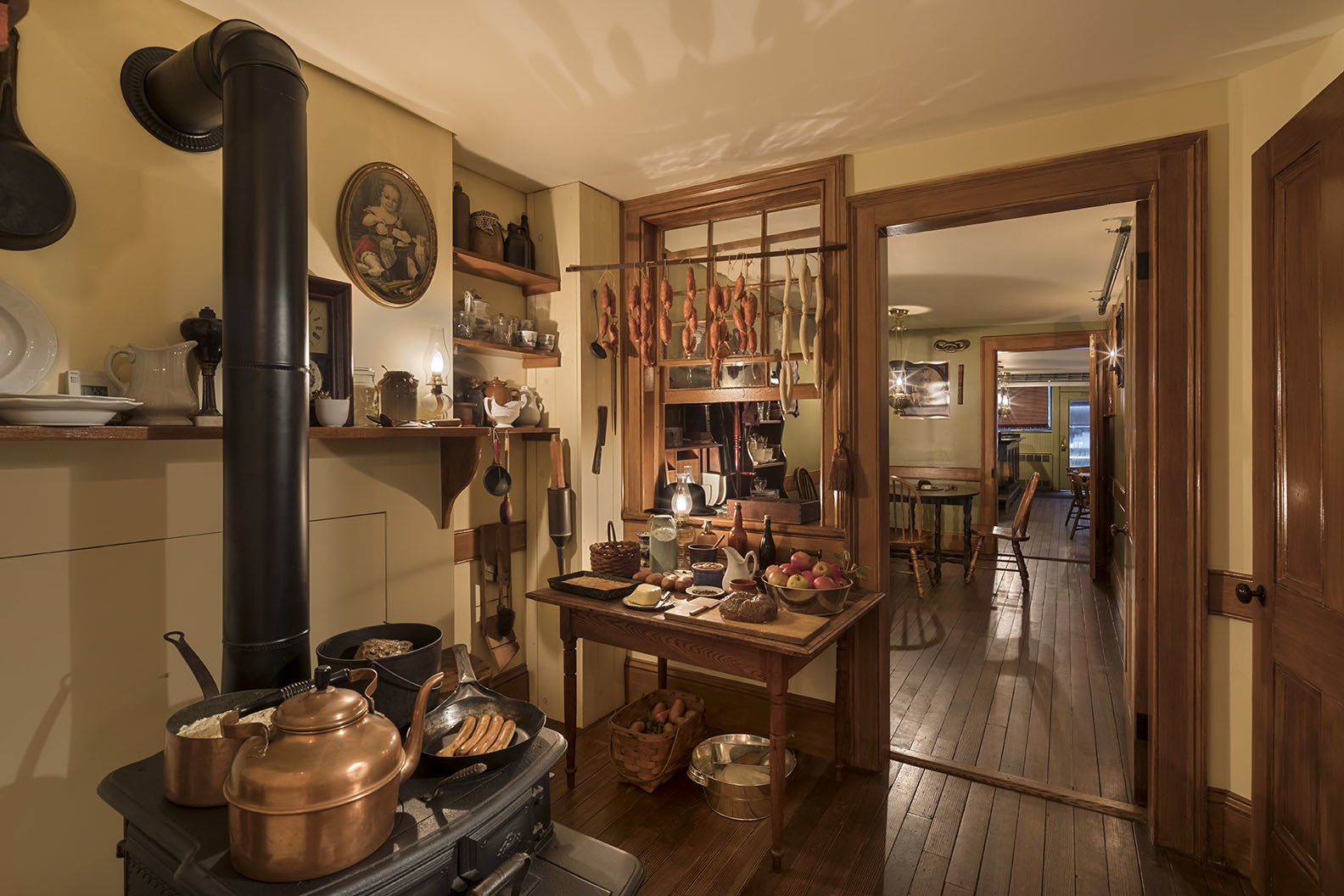 The recreated kitchen of the Schneider family