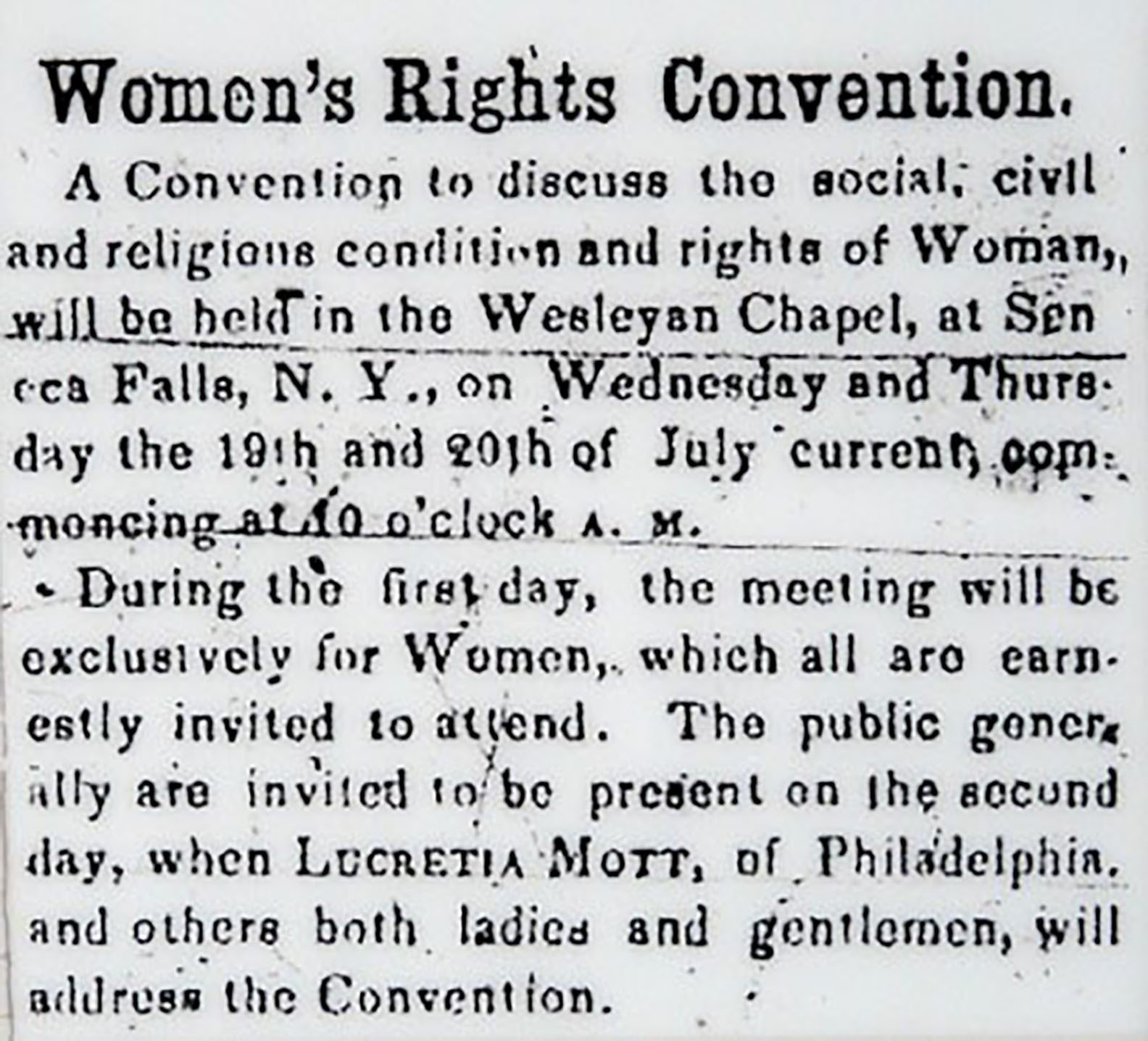 Newspaper clipping on the New York Women's Rights Convention in 1848.