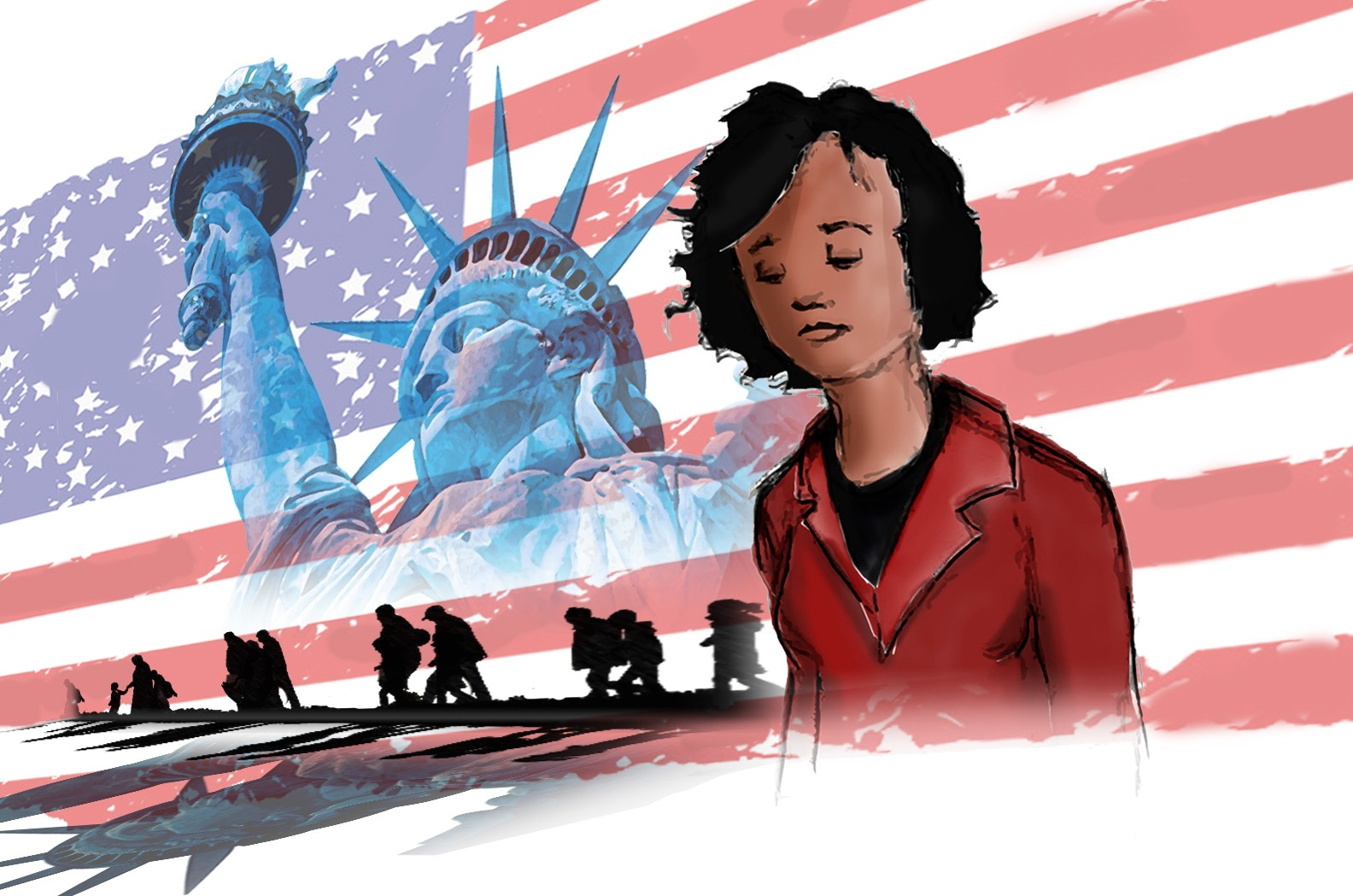 Drawing of a woman with medium-brown skin tone in front of an American flag, the Statue of Liberty, and the silhouettes of refugees