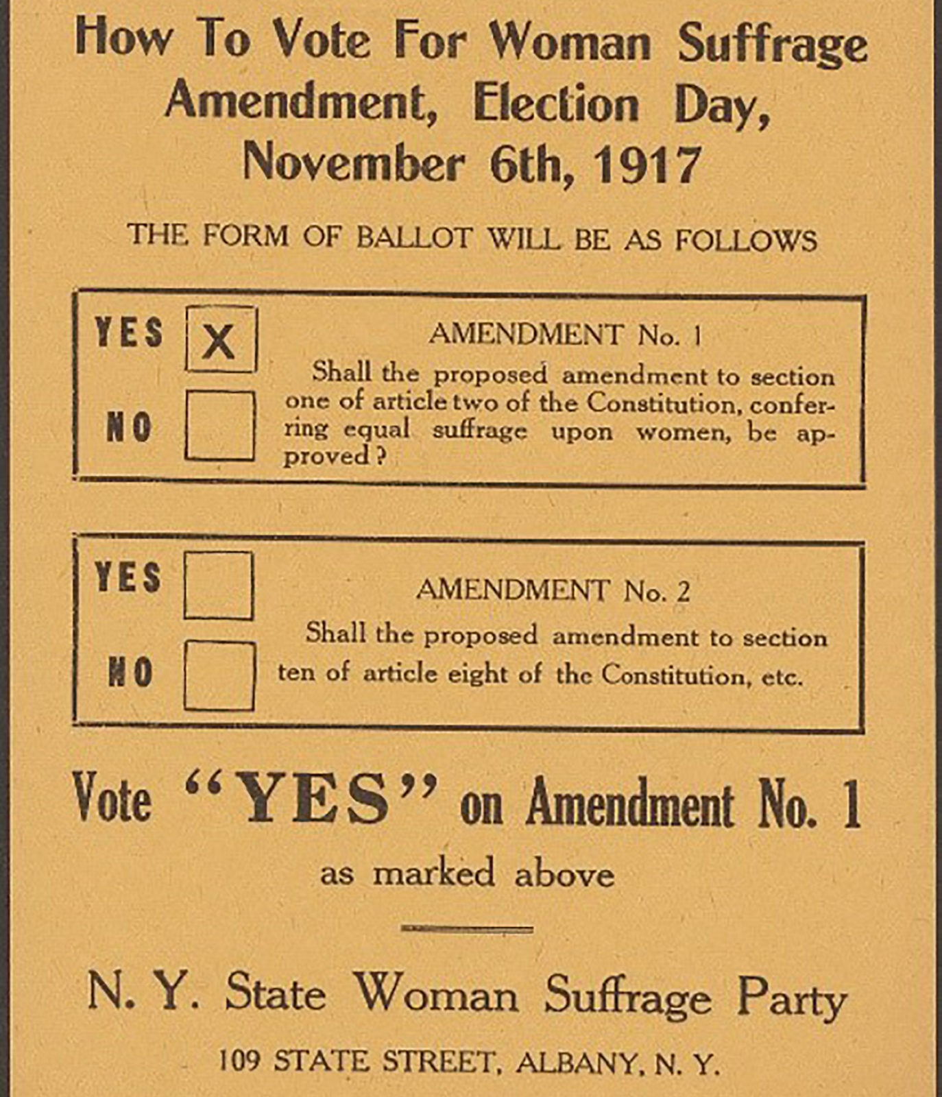 New York State Women's Suffrage party flyer for 1917.