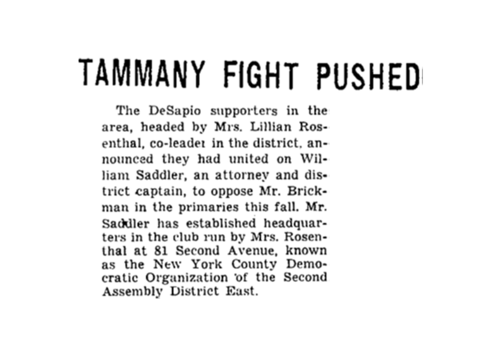 Newspaper article titles Tammany Fight Pushed from early 1900s.