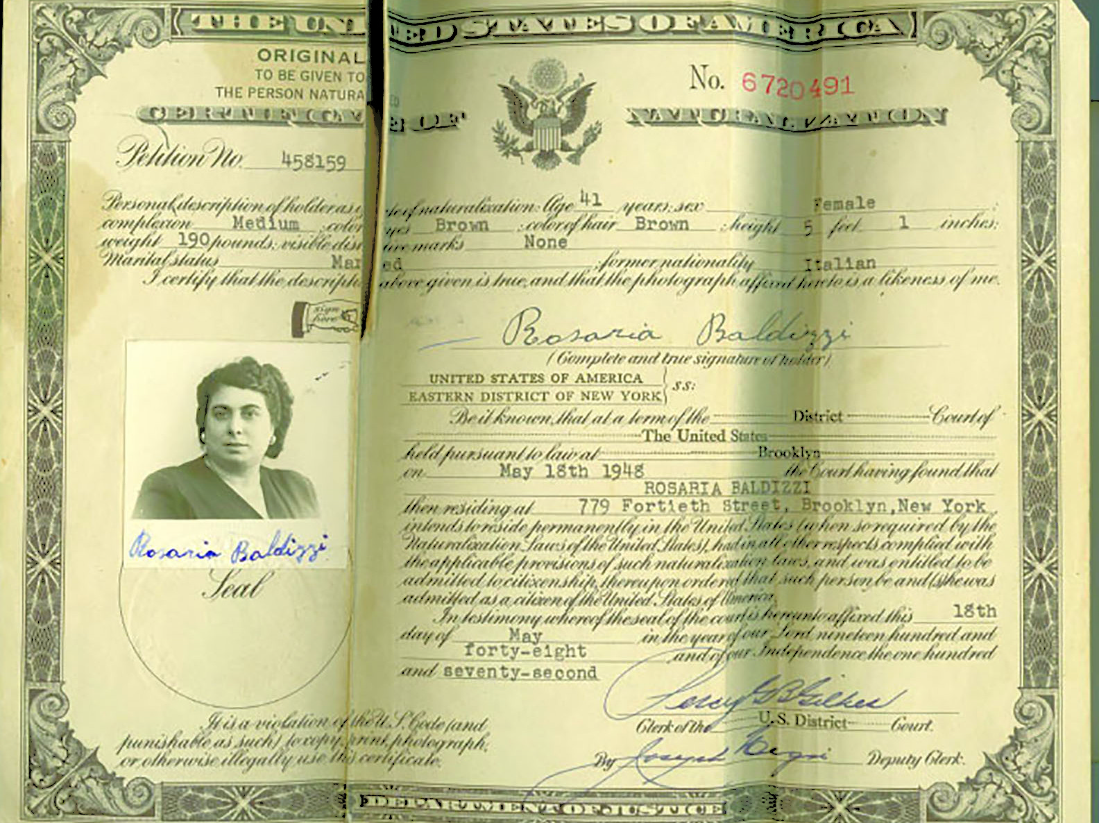Rosaria Baldizzi Citizenship Papers.
