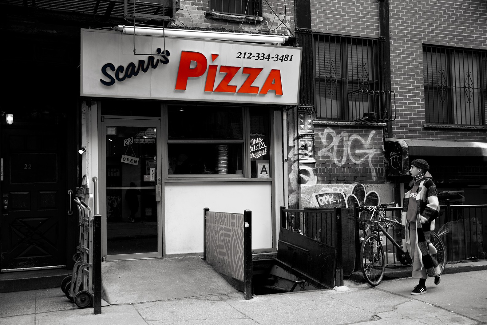 Exterior image of Scarr's Pizza on the Lower East Side
