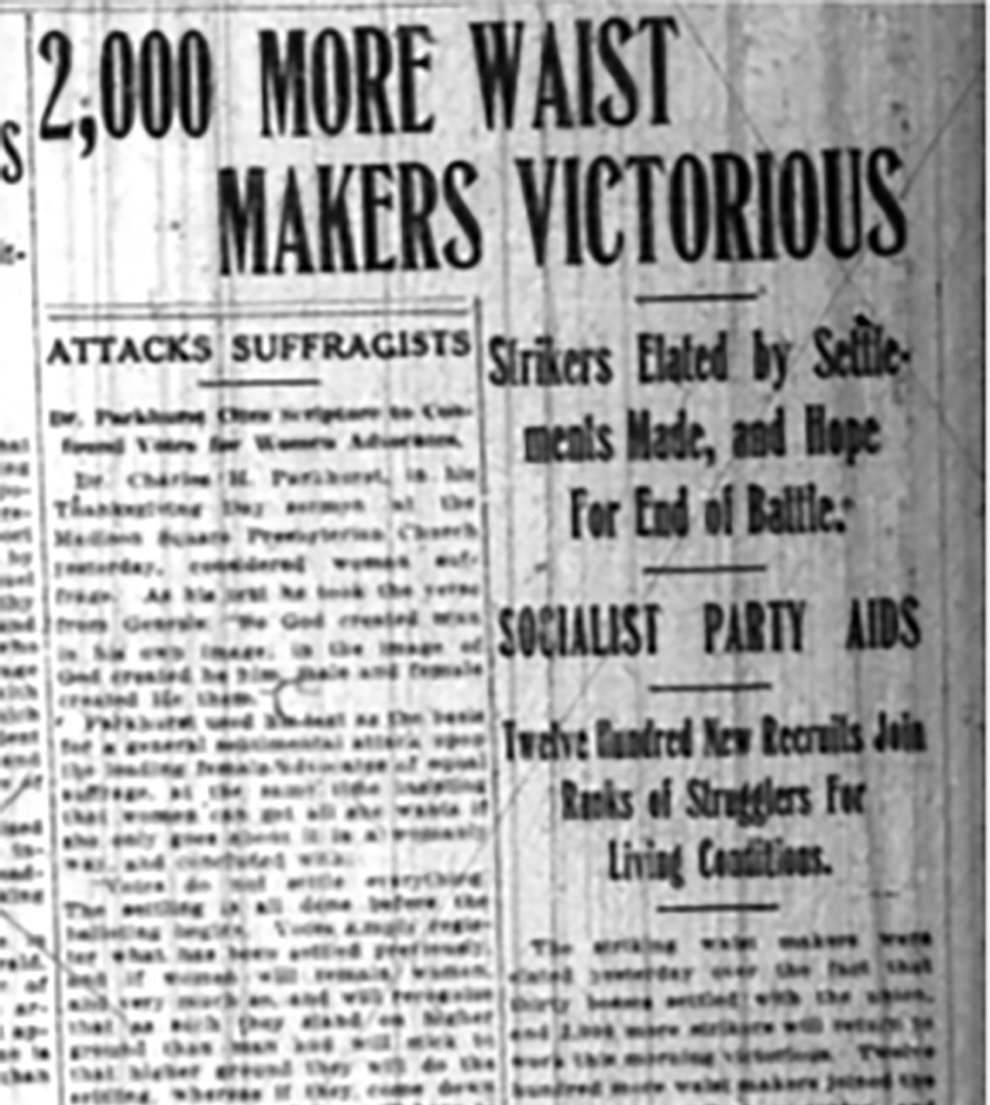 Newspaper article titled 2,000 More Waist Makers Victorious.