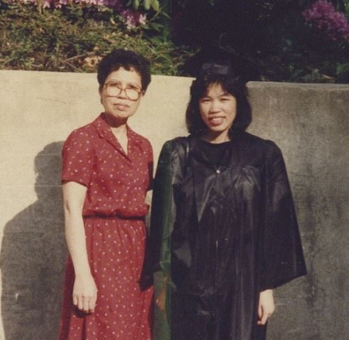 Mrs. Wong and daughter Alison at her graduation.