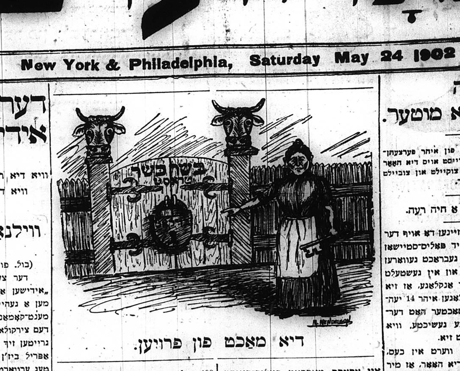 1902 newspaper clipping with a drawing highlighting the kosher meat boycott.