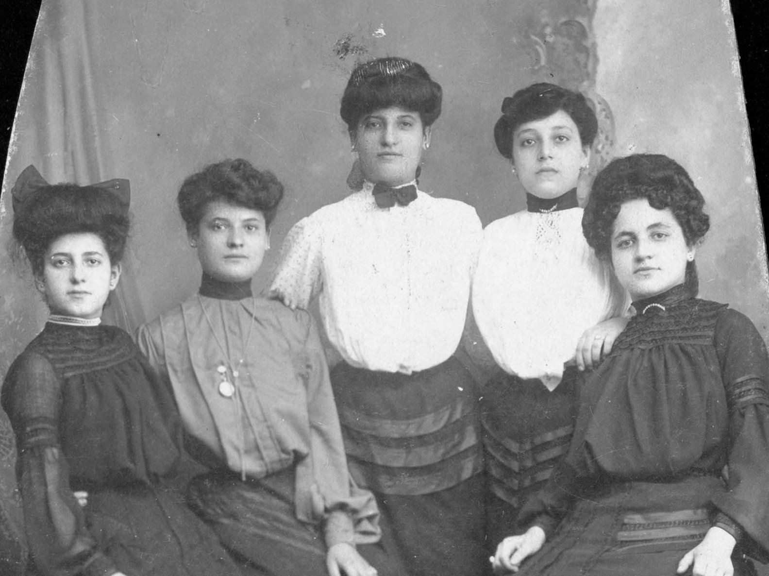 Sarah Burinescu posing with four women who were part of her political group to promote women's suffrage.