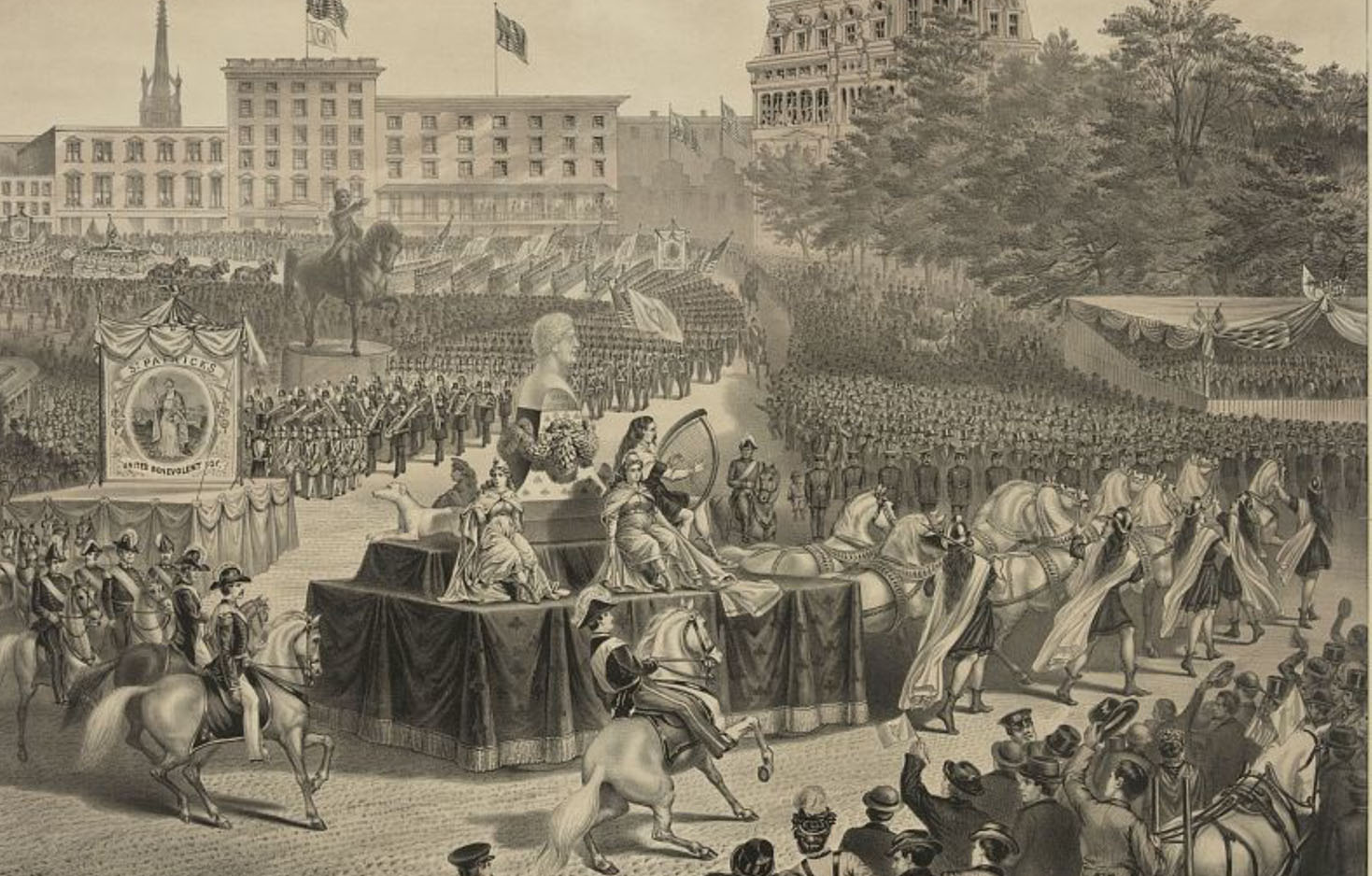 Illustration depicting a massive cheering crowd gathered in Union Square, watching elaborate horse-drawn floats and marching bands pass by