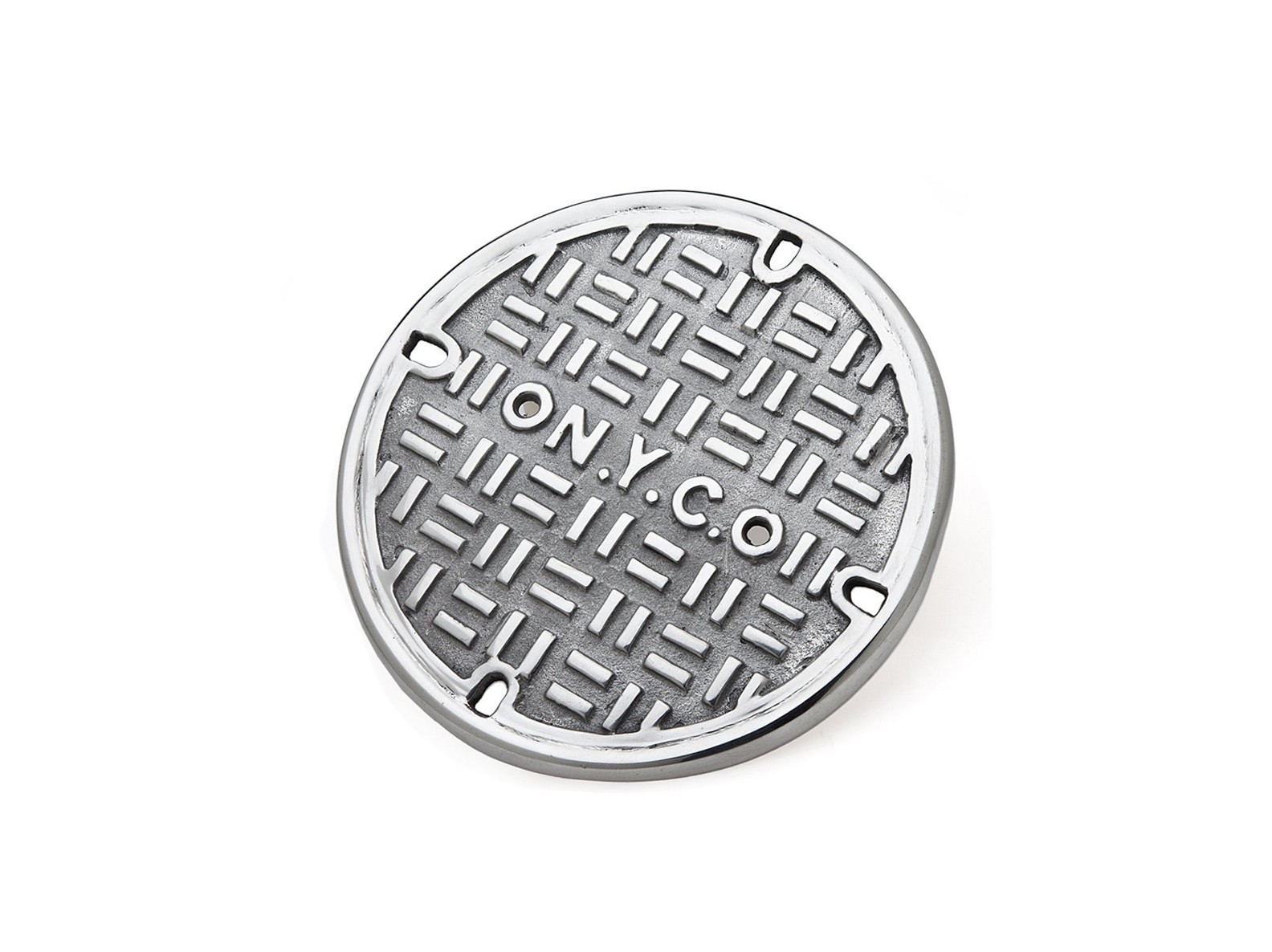 silver trinket resembling a manhole cover from NYC