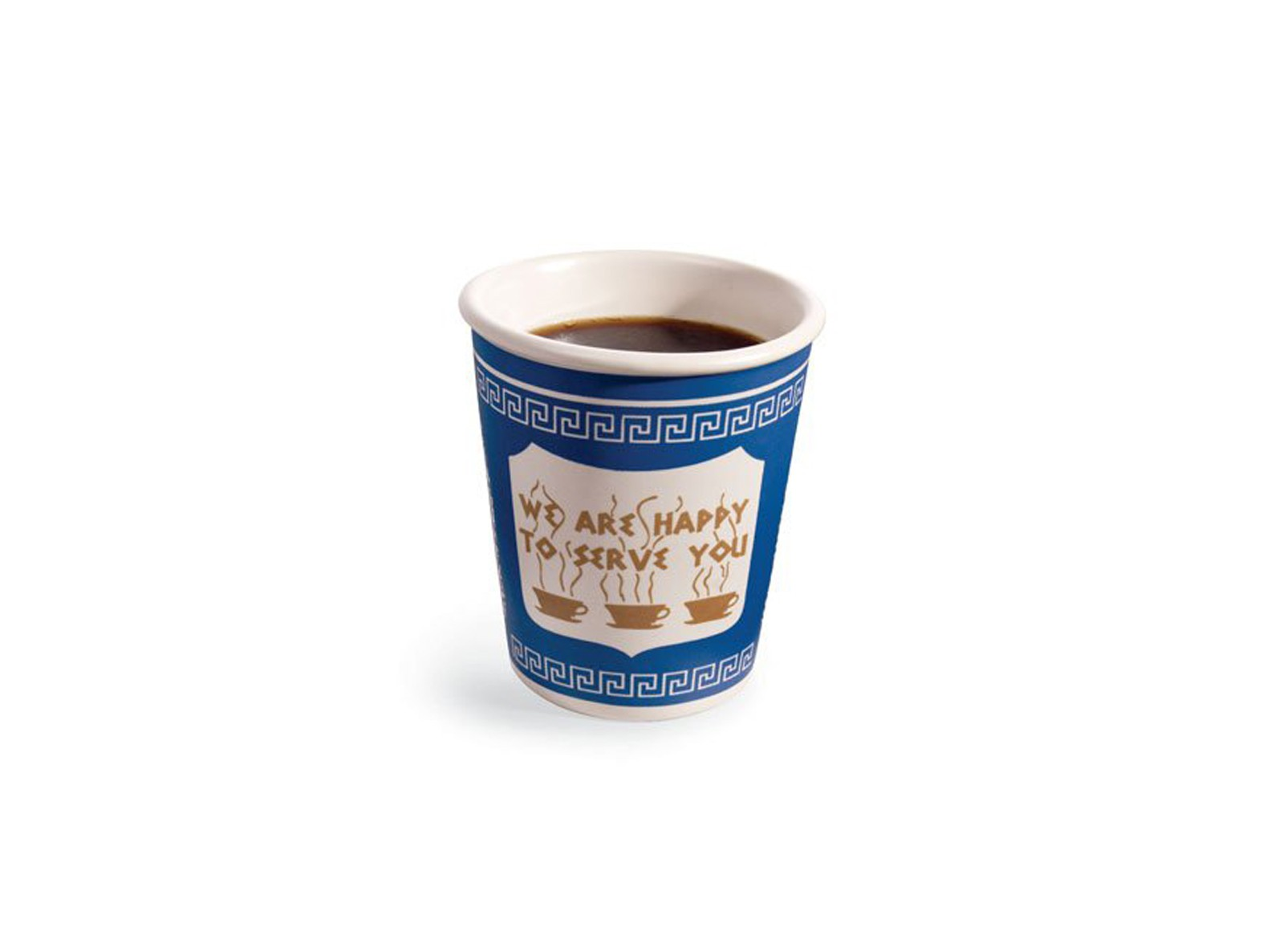 ceramic mug themed to resemble a classic Greek coffee cup