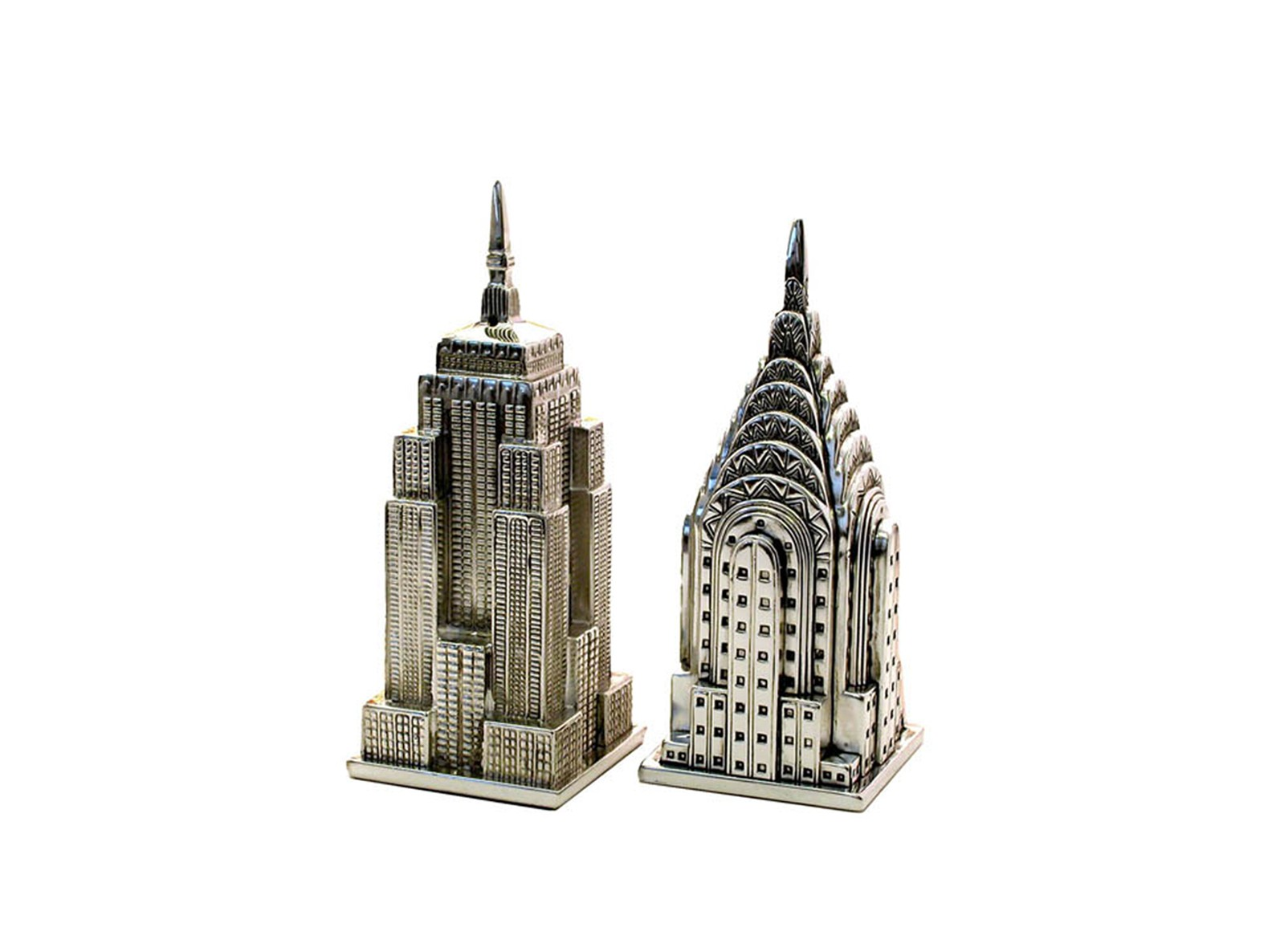 Salt and pepper shakers shaped like the top of the Empire State and Chrysler buildings