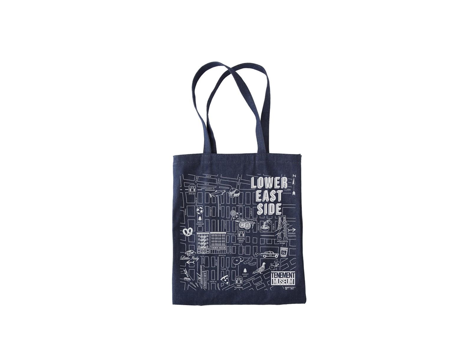 Lower East Side themed denim tote bag