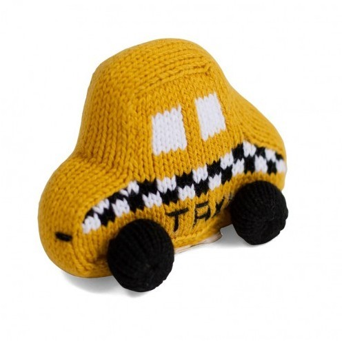 cotton, hand-stitched rattle toy resembling a vintage NYC taxi
