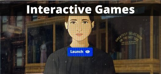 """A screenshot titled """"Interactive Games"""" of Victoria Confino's avatar in a game"""