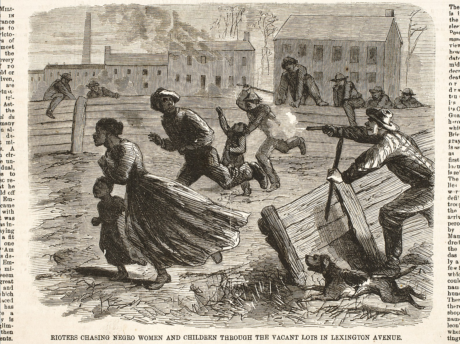 Newspaper drawing of rioters chasing a Negro women and children