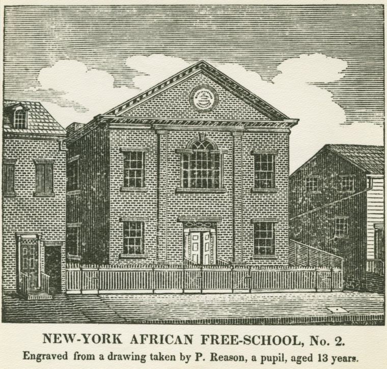 Drawing of the New York Free African School in Lower Manhattan c.1787