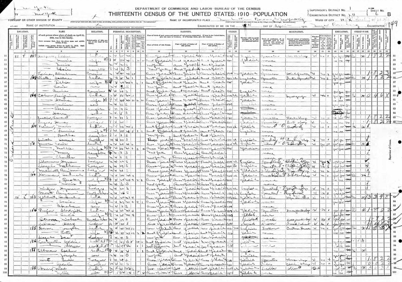 1910 US census with long, handwritten lists of names and demographics that include some of the Rogarshevsky family