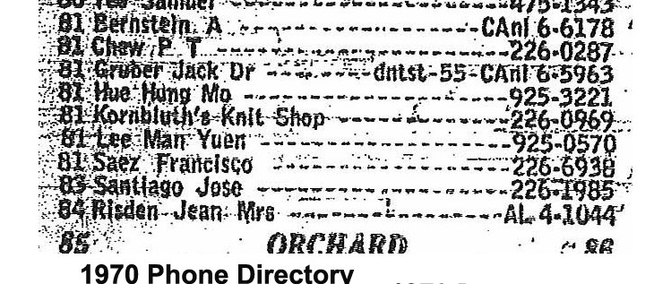 Image of a phone directory that details the names and phone numbers of 9 residents.