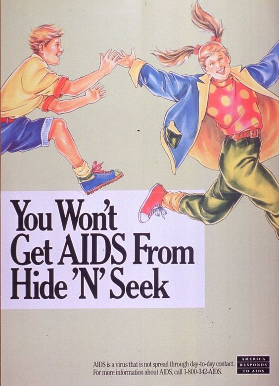 America Responds to AIDS poster showing an image of one laughing teenager chasing another over text that reads 'You Won't Get AIDS from Hide and Seek'