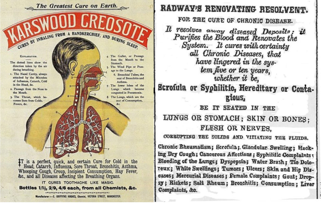 (Left) A colored diagram of a human male that details how the adverstised medicine is ingested and travels through the body.(Right) Typed pamphlet advertising a cure-all medicine for chronic diseases