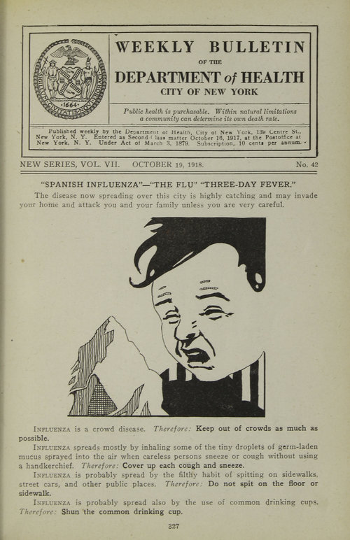 DOH bulletin poster with a drawing of a boy sneezing encouraging people to follow precautions to limit the spead of the flu