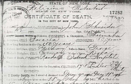 John's death certificate that includes the following: he was 62, a widow, shoemaker, lived in NYC for 50 years, and died on May 9