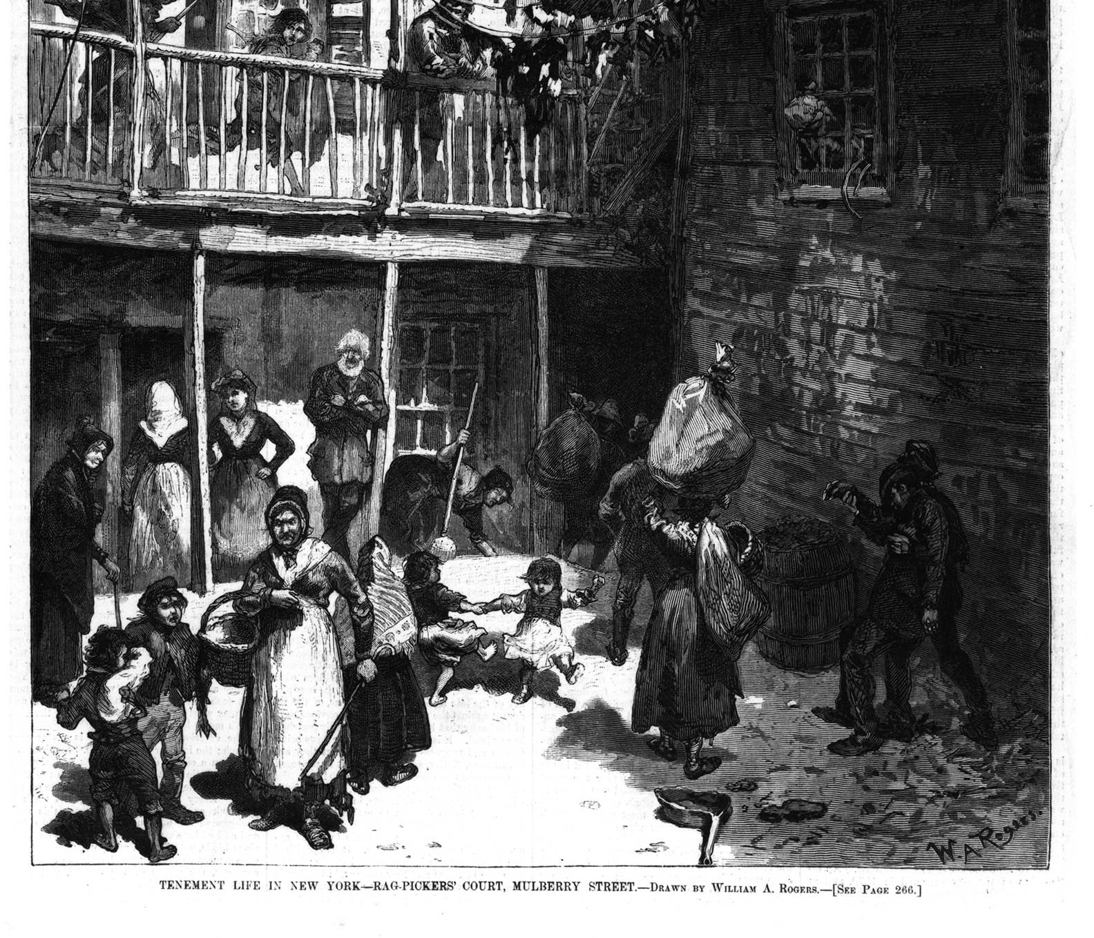 Men, women, and children all of different ages gathered in a small common outdoor space engaging in daily chores