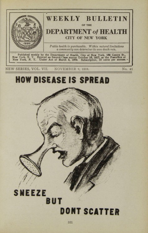 DOH bulletin poster with a drawing of a man with a spray hose for a nose sneezing captioned 'Sneeze but Don't Scatter'