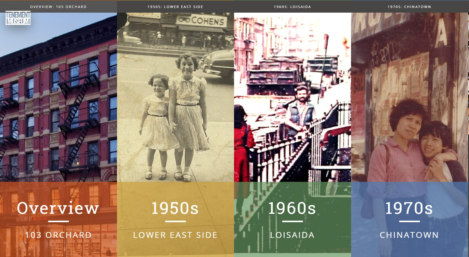 Graphic for 103 Orchard Street website with a sectioned collage of pictures from the 1950s, 60s, and 70s