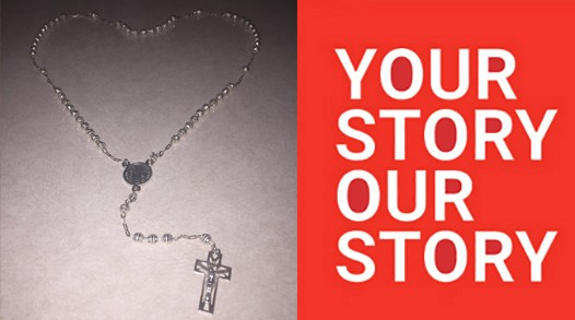 """Featured item from """"Your Story, Our Story"""": a silver rosary necklace set in a heart shape"""