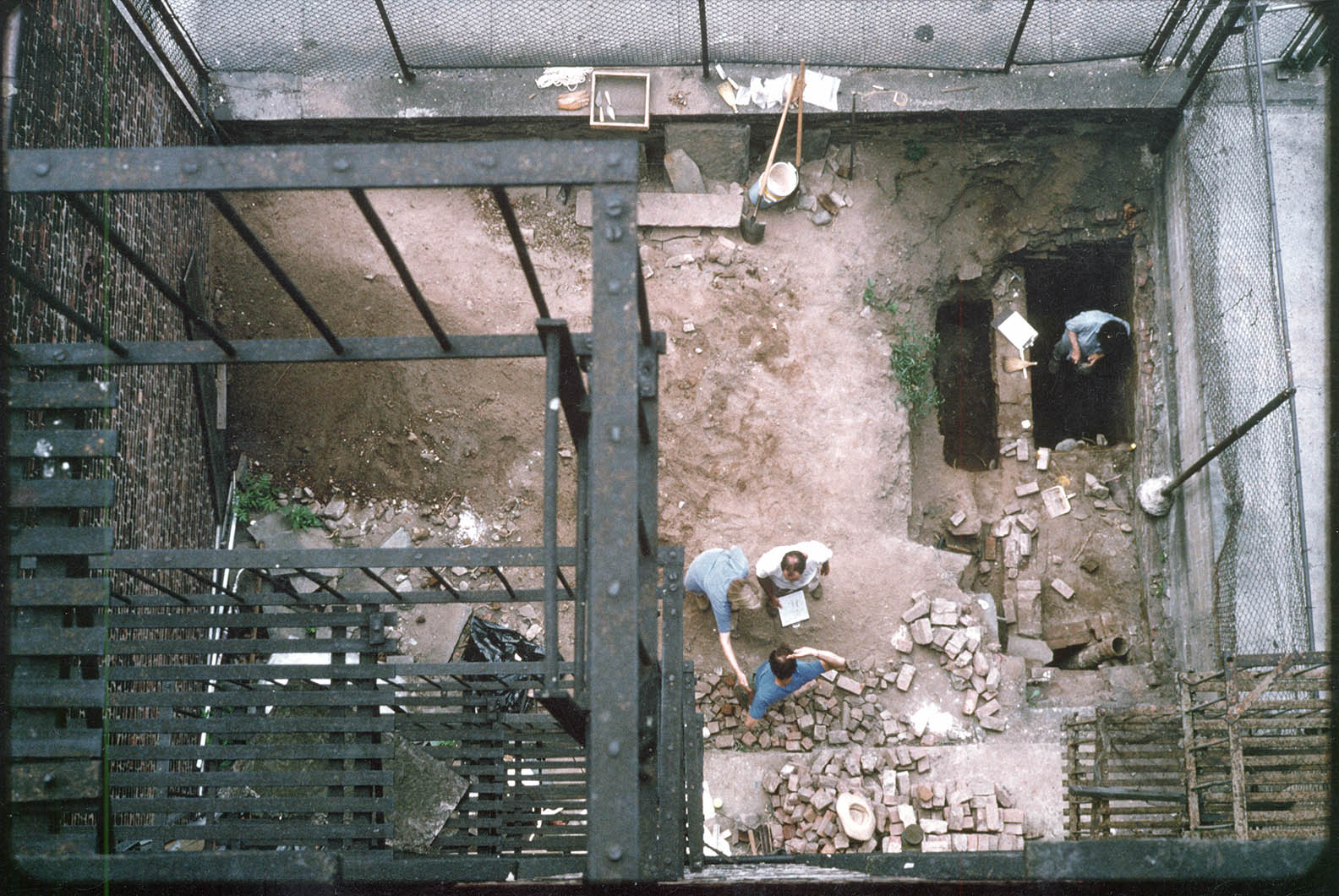 97 Orchard Street Rear Yard excavation with privy feature at top right, 1993. Collection of the Tenement Museum.