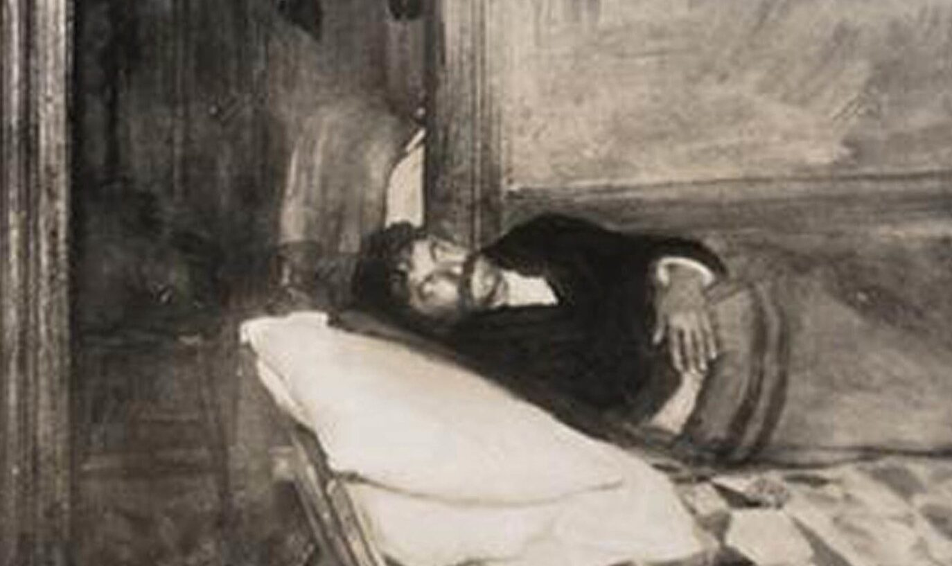 Black and white photo of a tuberculosis patient lying in their bed inside a dark, cramped bedroom