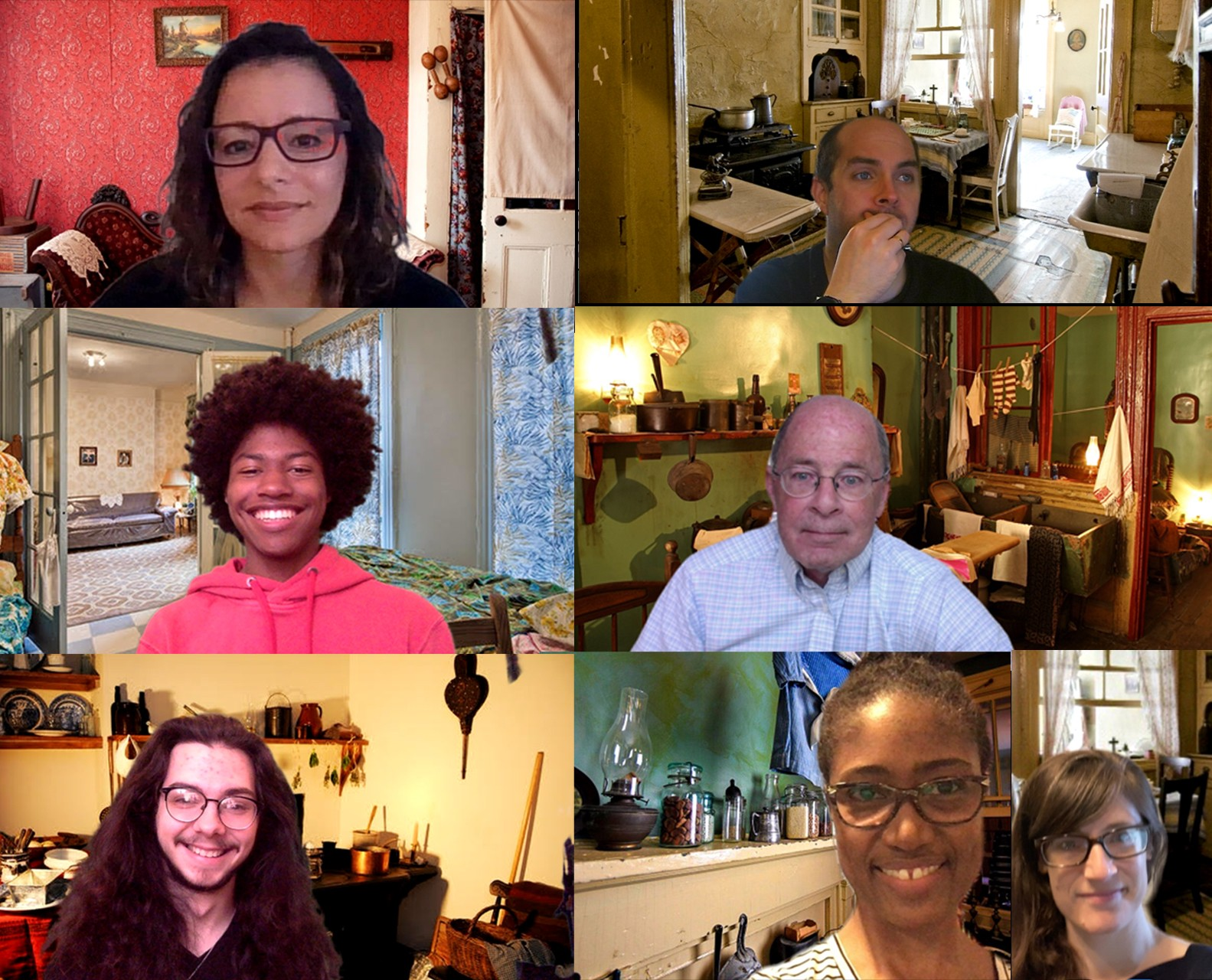 Screenshot from a group video call. Seven Museum staff members smile in front of Tenement-themed virtual backgrounds.