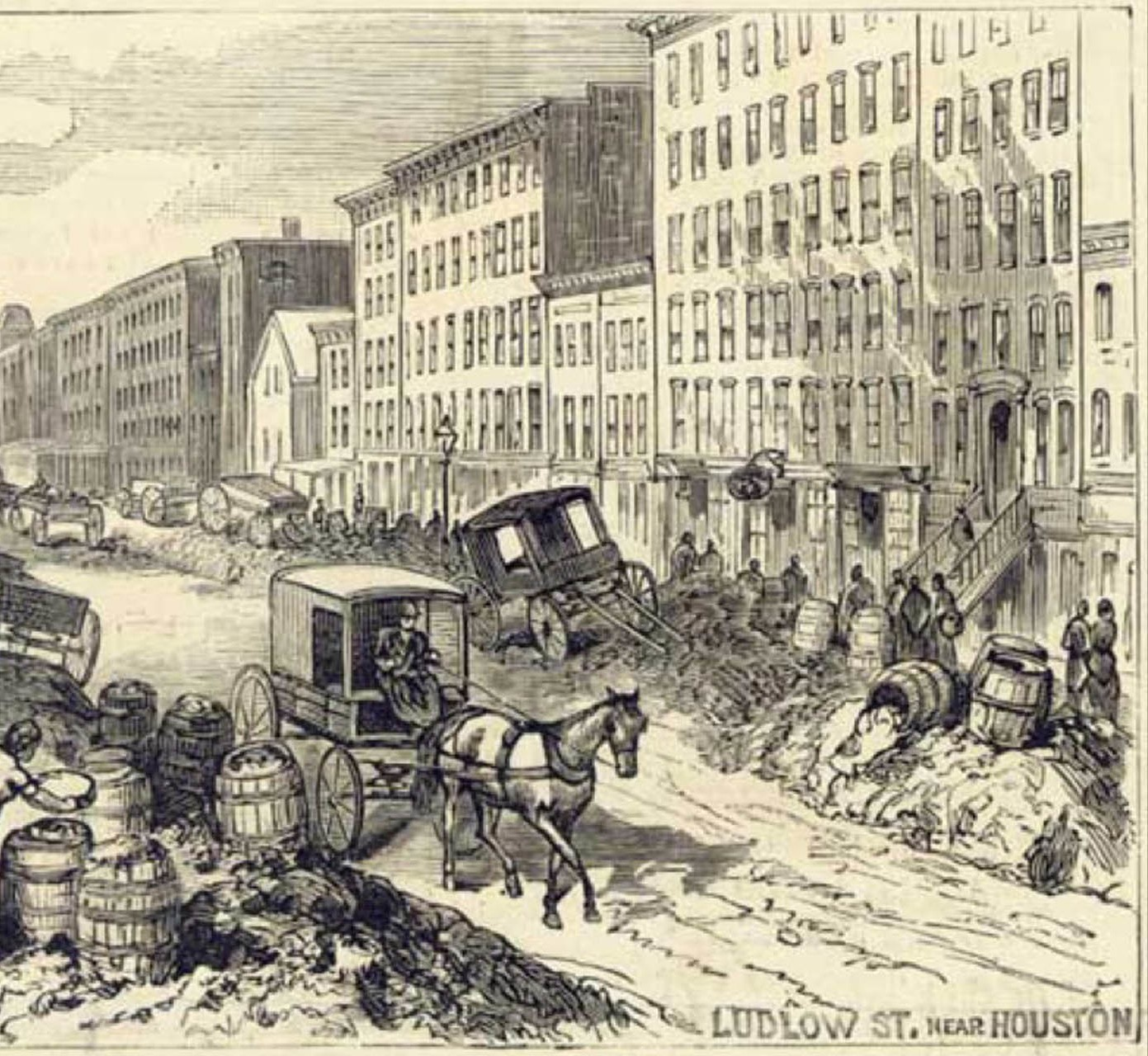 Old horse-drawn wagons and people trying to make their way around piles of garbage piled in front of buildings down a busy street