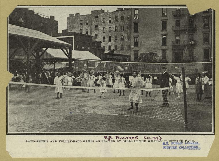 Girls play tennis and volleyball in Seward Park, 1905