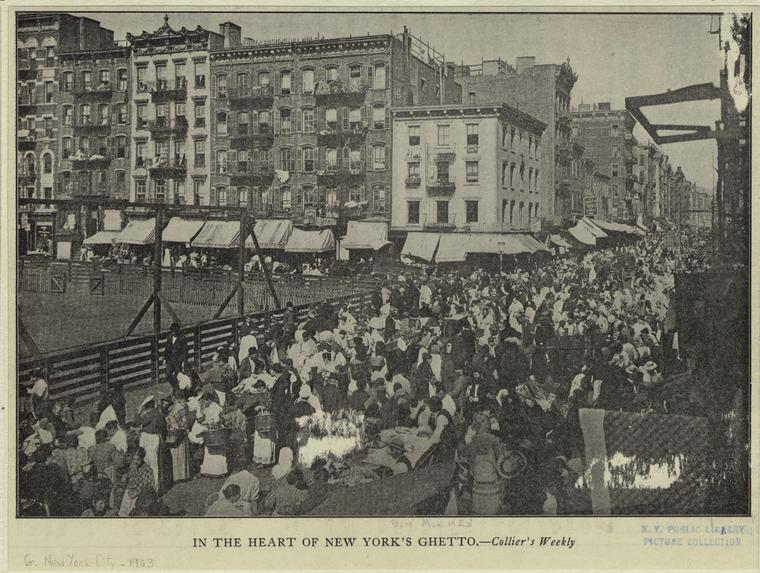 Crowd of people outside a park fence, early 1900s.