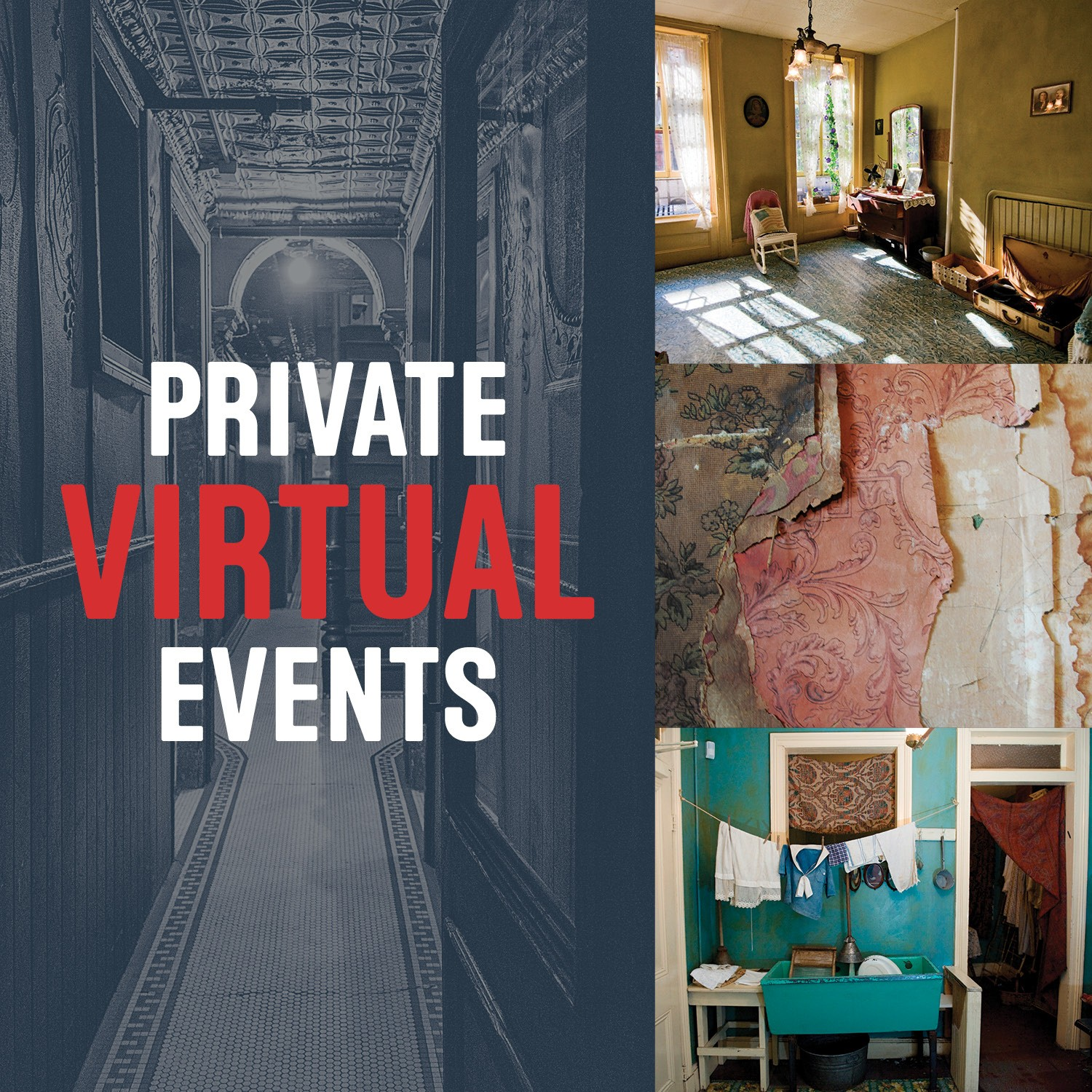 "Collage poster for ""Private Virtual Events"" with pictures from different family apartments."