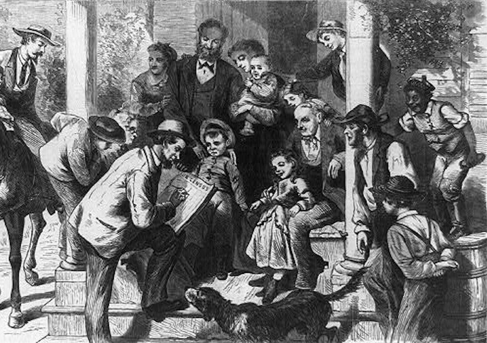 1870s drawing of a census taker outside of a building surrounded by group of adults, children, and a dog